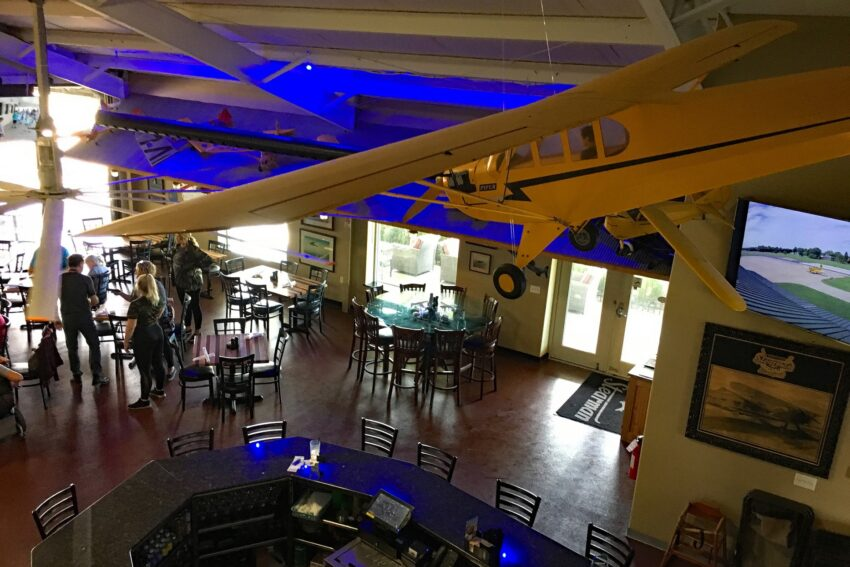 Stearman Field Bar & Grill in Witchita has an aviation theme and overlooks a runway of a private airport.