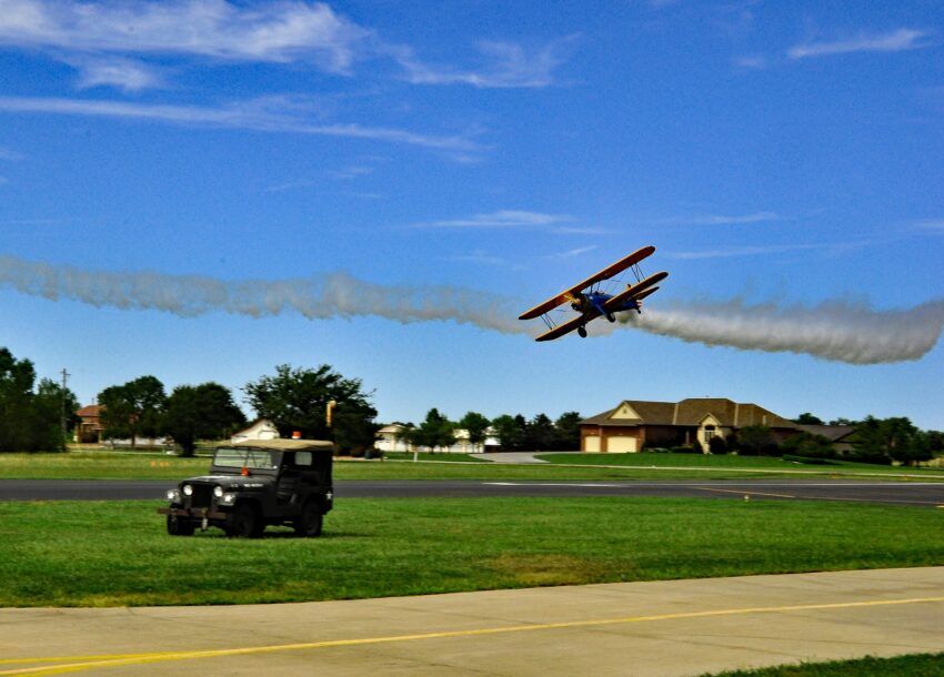 A World War II-era biplane comes in for a landing outside Stearman Field Bar & Grill, in Witchita, Kansas. Katherine Rodeghier photos.
