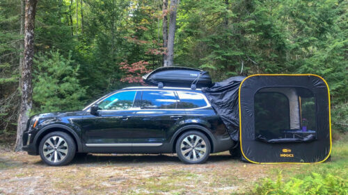 Car Glamping in the woods Photo by Erik Trinidad