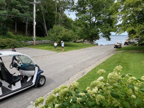 Golf carts are how you get around on Great Diamond Island.