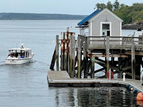 The ferry dock at Diamond Cove, the second stop on Great Diamond Island, Casco Bay, Maine.
