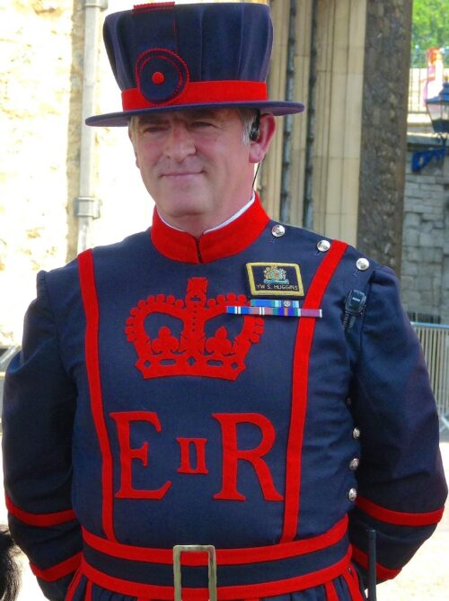 As part of their job, the 'Beefeaters' live in the Tower.