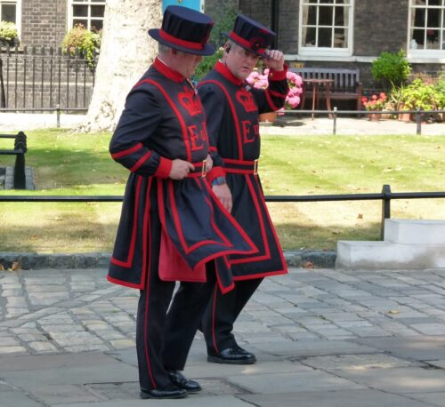 The 'Beefeaters' are both guards and guides at the Tower of London.