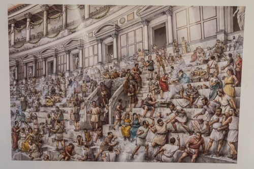 An illustration of the crowd during the gladiator games. Notice the gambling.