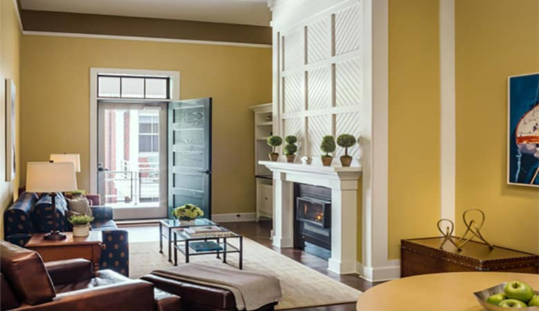A living room condo, one of the many luxurious options at the Inn at Diamond Cove, Portland Maine.
