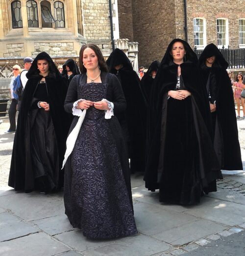 Re-enactors show what the final walk of a hapless woman due to be executed.