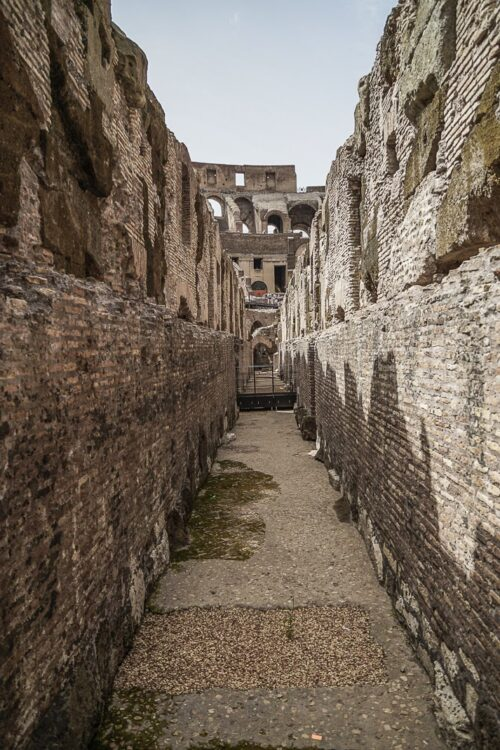 One of the tunnels that gladiators walked down in the Coloseum.