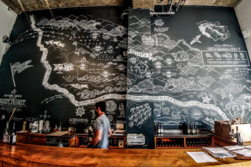 Mural at The Valley Project depicts the diverse terroir of Central Cali wine country.