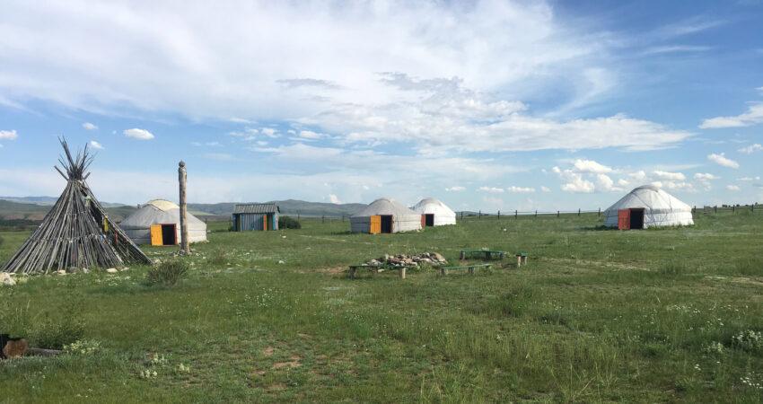 Biy Khem yurt camp in Tuva, Russia.