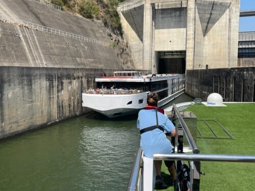 Meeting another river ship ahead of one of the locks on the Douro river.