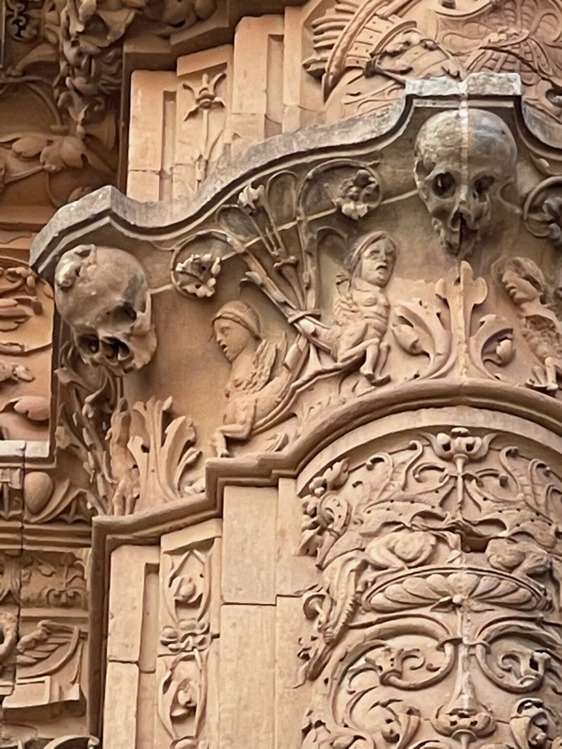 Details in the carved marble facade of the Cathedral in Salamanca.