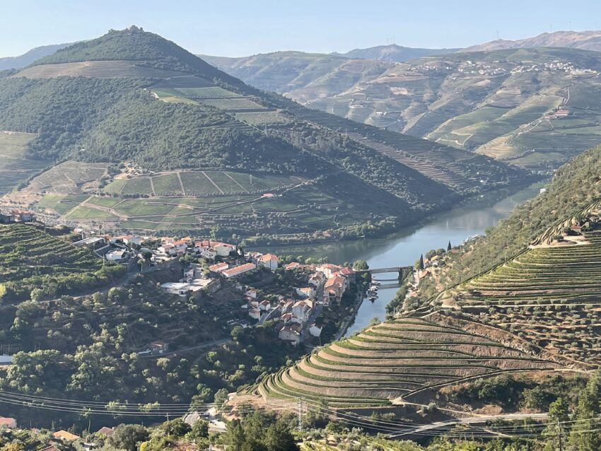 View of Pinhau, Portugal, the confluence of the Pinhau and Douro rivers.
