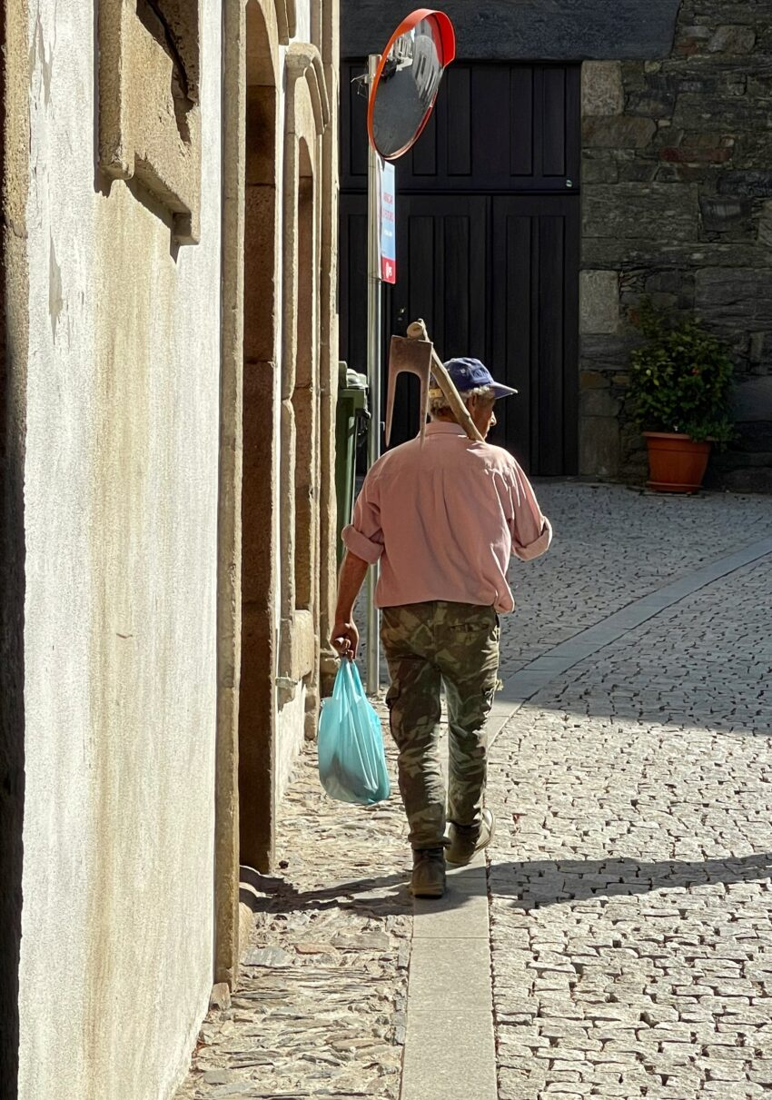 Farmer goes to work in Provesende, Portugal with his hoe ready.