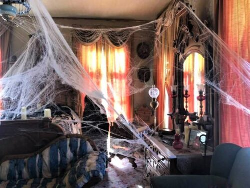 Marsten House Parlor decorated for Halloween