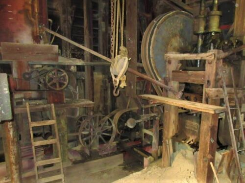 Mining equipment inside Best and Melcher Mine
