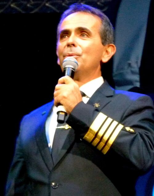 Ship Captain Ioannis Kasimatis welcomes passengers.