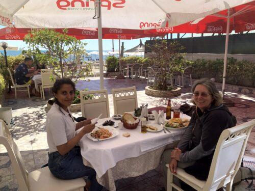Jayne and Betul having a break in Durres on the long trek north in Albania.
