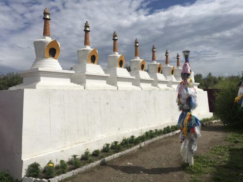 stupas at the local Buddhist temple in Tuva