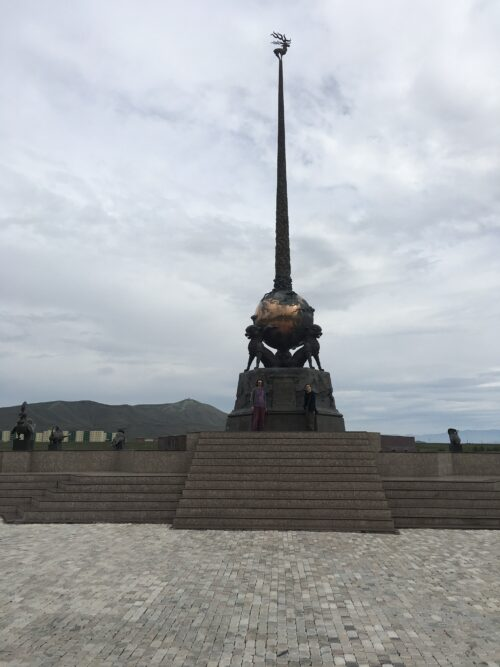 The monument to the center of Asia in Kyzyl Park, Tuva.